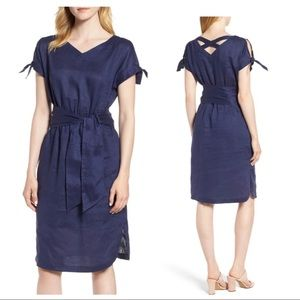 Anne Klein Blue linen tie shoulder belted dress